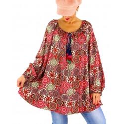 Tunique blouse grande taille bohème pompons NEMBUS rouge