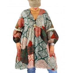 Robe tunique grande taille bohème pompons POLLUX vert