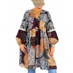 Robe tunique grande taille bohème pompons POLLUX bleu