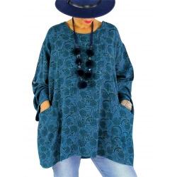 Tunique poncho grande taille MALOU bleu pétrole