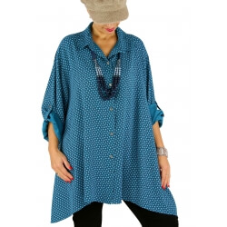 Chemise femme longue grande taille ELARA bleu pétrole