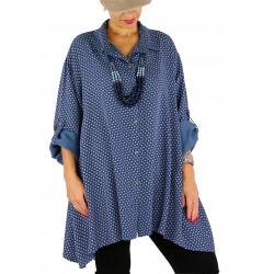 Chemise femme longue grande taille ELARA bleu jean