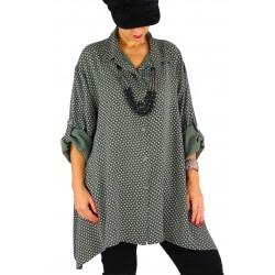Chemise femme longue grande taille ELARA kaki
