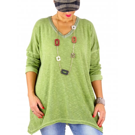 Pull femme grande taille fine maille SARGAS anis