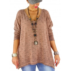 Pull femme grande taille fine maille GOMMETTE camel