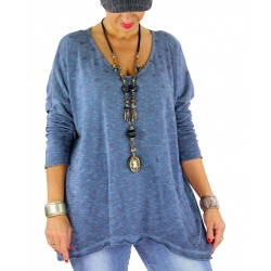 Pull femme grande taille fine maille GOMMETTE jean