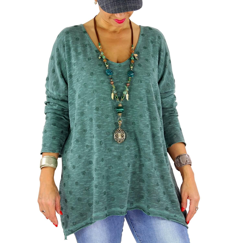 931e5c848 Pull femme grande taille fine maille GOMMETTE vert sapin