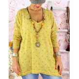 Pull femme grande taille fine maille GOMMETTE moutarde
