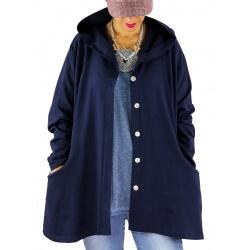 Veste sweat capuche grande taille SHANNA bleu marine