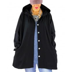 Veste sweat capuche grande taille SHANNA noire