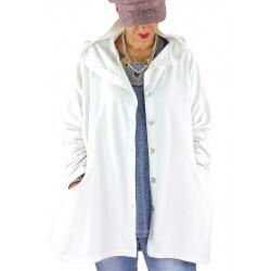 Veste sweat capuche grande taille SHANNA blanche