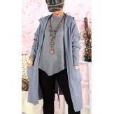 Gilet long capuche grande taille DORINE gris