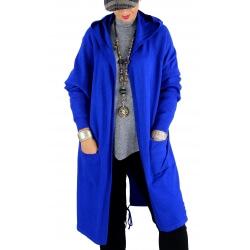 Gilet long capuche grande taille DORINE bleu royal