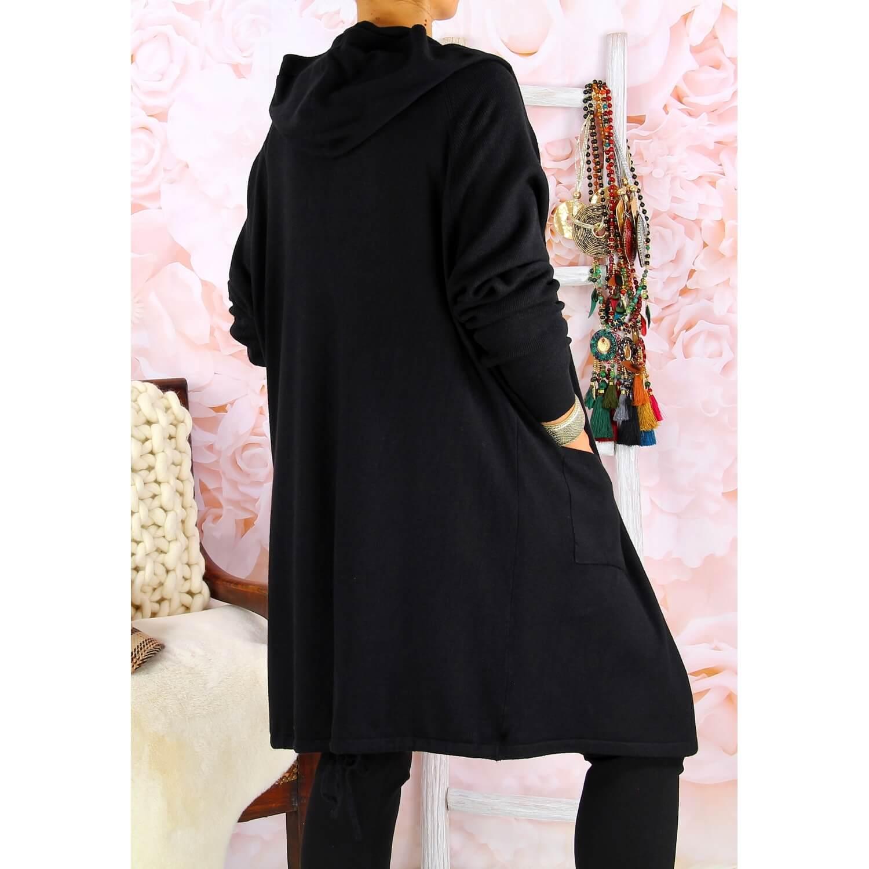 Grande Long Noir Dorine Gilet Capuche Taille nkNO80wPX