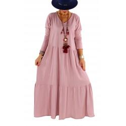 Robe longue grande taille bohème TERESA rose poudre