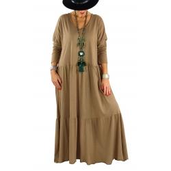 Robe longue grande taille bohème TERESA camel