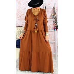 Robe longue femme grande taille TERESA Rouille Robe longue femme