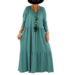 Robe longue grande taille bohème TERESA jade