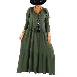 Robe longue grande taille bohème TERESA kaki