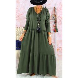 Robe longue femme grande taille TERESA Kaki Robe longue femme