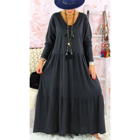 Robe longue femme grande taille TERESA Gris Robe longue femme