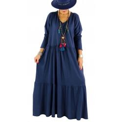 Robe longue grande taille bohème TERESA  bleu marine