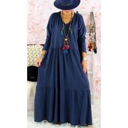 Robe longue femme grande taille TERESA Bleu marine Robe longue femme