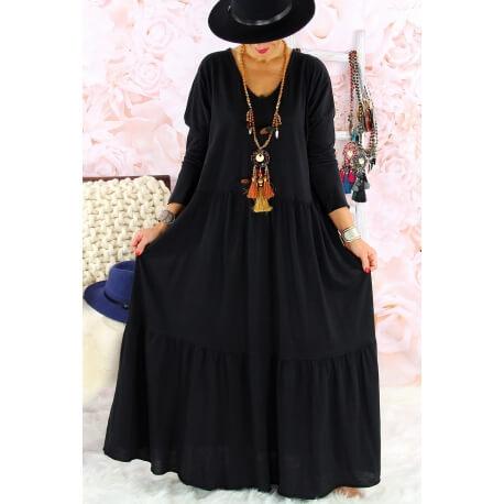 Robe longue grande taille bohème TERESA noire
