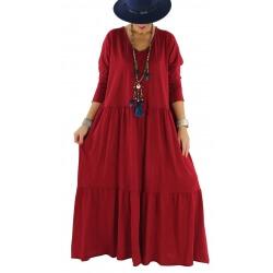 Robe longue grande taille bohème TERESA bordeaux