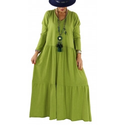 Robe longue grande taille bohème TERESA anis