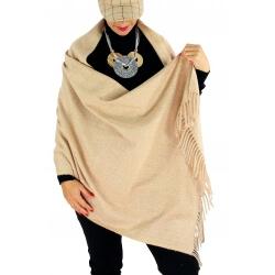 Écharpe châle étole laine hiver BAIKA Taupe clair-Écharpe laine femme-CHARLESELIE94