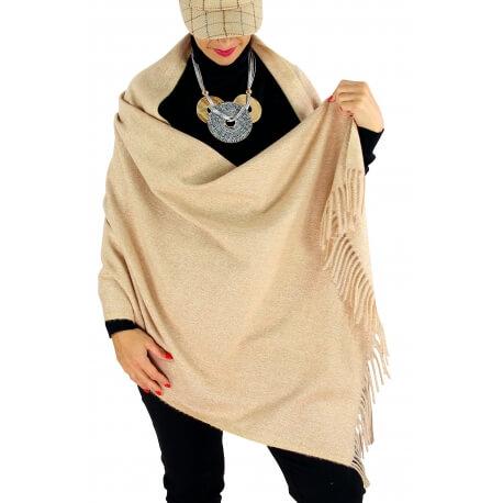 Écharpe châle étole laine hiver BAIKA taupe