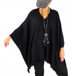 Poncho pull long hiver grande taille CHACHA noir