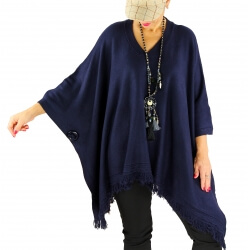 Poncho pull long hiver grande taille CHACHA bleu marine