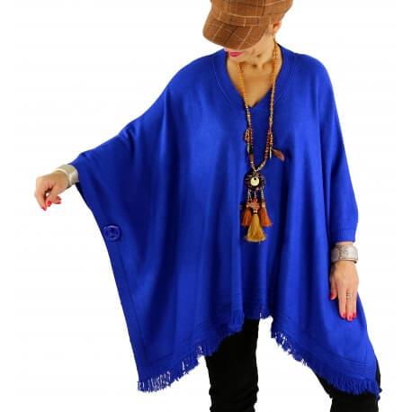 Poncho pull long hiver grande taille CHACHA bleu royal