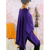 Poncho pull long hiver grande taille CHACHA violet