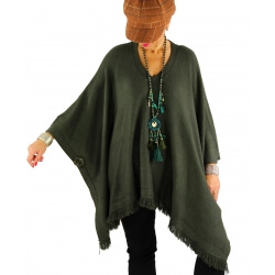 Poncho pull long hiver grande taille CHACHA kaki