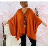 Poncho pull long hiver grande taille CHACHA rouille