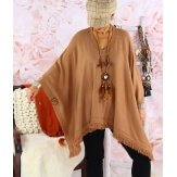 Poncho pull long hiver grande taille CHACHA camel