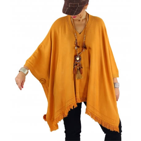 Poncho pull long hiver grande taille CHACHA moutarde