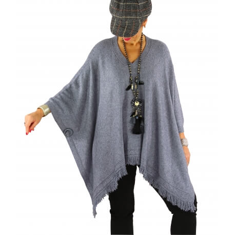 Poncho pull long hiver grande taille CHACHA gris