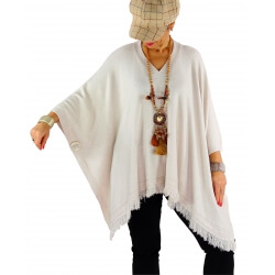 Poncho pull long hiver grande taille CHACHA beige