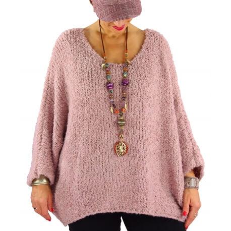 Pull grosse maille laine alpaga VENUS rose poudre