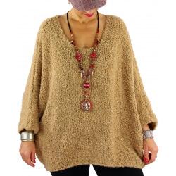 Pull grosse maille laine alpaga VENUS camel