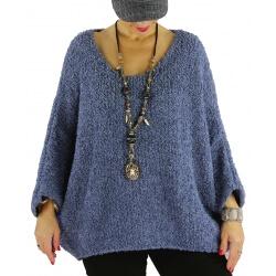 Pull grosse maille laine alpaga VENUS bleu jean