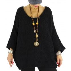 Pull grosse maille laine alpaga VENUS noir