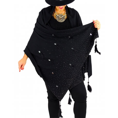 Châle étole hiver plumes perles strass bohème SIRIUS noir