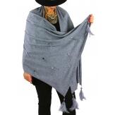 Châle étole hiver plumes perles strass SIRIUS Gris-Étole femme-CHARLESELIE94