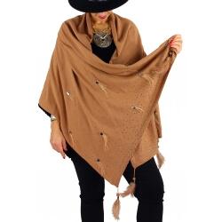 Châle étole hiver plumes perles strass bohème SIRIUS camel