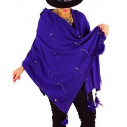 Châle étole hiver plumes perles strass bohème SIRIUS violet